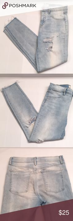 PacSun Jeans high-rise, ripped, raw hem jegging - super cute! PacSun Jeans