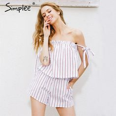 1048ba47a678 Simplee white bow stripe elegant jumpsuit romper Off shoulder two piece  suit overalls Sexy summer beach playsuit women outfit