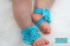 @Missie Hernandez Spence Turqouise Baby Barefoot Sandal Turqouise by AtkinsonDesigns, $7.49    How adorable for that new little girl!!
