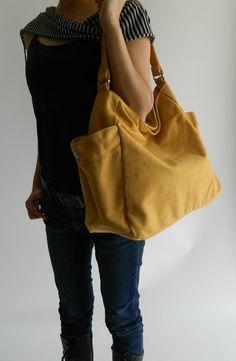 NEW  Renee in MUSTARD  Tote/ shoulder bag by christystudio on Etsy, $38.00