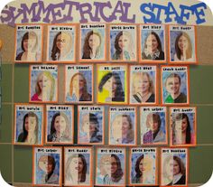"""""""I gave each student a picture (cut in half) of a staff member at our school (lovely yearbook pictures from last year, ha!). They tried to draw the missing half as symmetrical as possible!"""" Learning symmetry."""