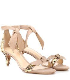 ALEXANDRE BIRMAN   Clarita embellished suede sandals #Shoes #Sandals #Mid-heel #ALEXANDRE BIRMAN