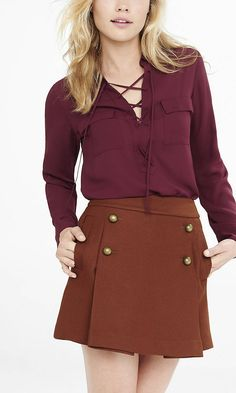 Lace Up Long Sleeve Blouse | Express