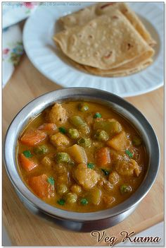 "Hotel Style Veg Kurma (Mixed Vegetable Korma) (recipe) - ""we are hooked onto this recipe"" Veg Kurma Recipe, Vegetable Korma Recipe, Vegetable Curry, Vegetable Dishes, Vegetable Recipes, Subzi Recipe, Veg Dishes, Cooking, Indian"
