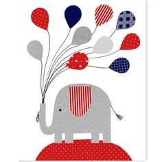 Elephant Nursery Art Navy Aqua Gray White Elephant Print Balloons... ($14) ❤ liked on Polyvore featuring home, home decor, wall art, home & living, home décor, silver, wall décor, wall hangings, wall hanging and wall picture