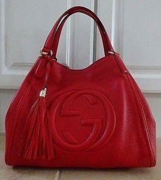 Gucci Red pebbled leather Soho shoulder bag, total stitched double G logo on front,light gold hardware. Includes dust bag Inside large zip pocket and two pouch Gucci Purses, Gucci Handbags, Gucci Bags, Purses And Handbags, Designer Handbags, Gucci Soho Bag, Canvas Handbags, Cheap Handbags, Gucci Disco