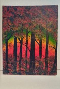 Abstract Forest Rainbow Colors Original Tree by JOYsARTDESIGNS