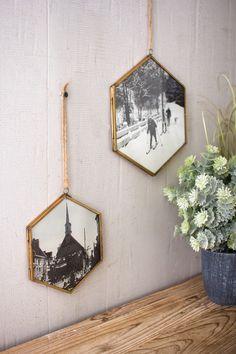 Kalalou Hexagon Photo Frames With Antique Brass Finish - Set Of 4