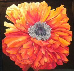 """Poppy quilt:  """"Synergy"""" by Nancy Sterett Martin and Karen Sistek.   2012 International Quilt Festival, photo by Joen Wolfrom"""