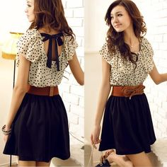 Spring Clothing New Style Korean Dress Retro Style Dot After Stitching Strap Summer Dress