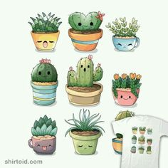 Succulents kawaii T-Shirt by Valentina Fabbri - The Shirt ListSucculents Kawaii by They're succulents, but they also are kawaiiRipt Apparel: Custom T-shirts & Cheap Limited Edition Graphic TeesCactus T-Shirt by Valentina Fabbri aka aka vale. Succulents Wallpaper, Succulents Drawing, Cactus Drawing, Cactus Painting, Plant Drawing, Cactus Art, Manga Kawaii, Drawing Course, Cute Doodles