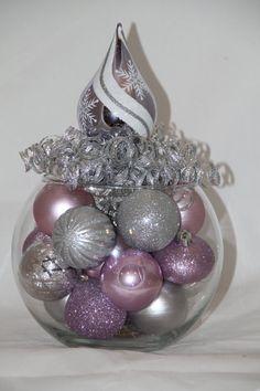 Regalo de Navidad centro de mesa lavanda y plata vacaciones