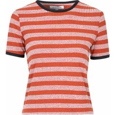 Rust Striped T-Shirt ($26) ❤ liked on Polyvore featuring tops, t-shirts, red, short sleeve t shirts, red stripe tee, striped tee, crewneck t-shirt and red striped tee
