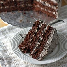 A perfect chocolate cake with a cookies and cream frosting--perfect for birthdays or any celebration!