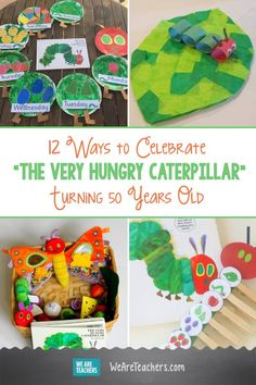 "Eric Carle's ""The Very Hungry Caterpillar"" Turns 50 Years Old. From growing a grassy caterpillar to crafting a paper plate caterpillar, your young students will love these The Very Hungry Caterpillar activities. Preschool Books, Craft Activities For Kids, Kindergarten Activities, Toddler Activities, Preschool Activities, Winter Activities, Book Activities, Kids Crafts, The Very Hungry Caterpillar Activities"