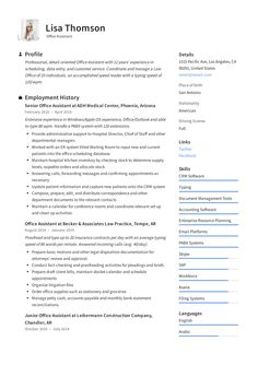 Accountant Resume + Guide with examples to land your next job in Job descriptions & responsibility samples inc. Customer Service Resume Examples, Resume Objective Examples, Resume Template Examples, Teacher Resume Template, Teacher Resumes, Elementary Teacher Resume, Teaching Resume, Teaching Skills, Resume Writing