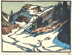 William S. Rice,The Glacier Sierra, ca. 1920, color woodcut with handcoloring on laid Japanese paper.