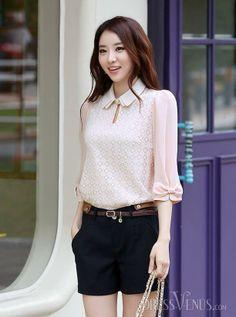 Luxury Korean Style Lace Blouse.