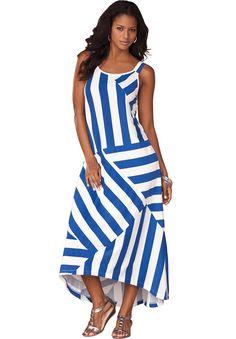 Plus Size Stripe Maxi Dress