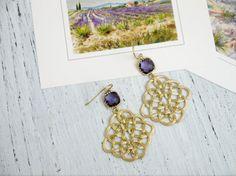 Gold filigree earrings Gold Celtic Knot Earrings Celtic Earrings Purple Drop Earrings Purple Earrings by FranceProvence #TrendingEtsy