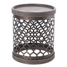 @Overstock - Intelligent Design Cirque Reclaimed Quatrefoil Metal Drum Table - This contemporary drum table features a quatrefoil metal base pattern that can be finished in a wide variety of finished. With its elegant style, this drum table is sure to stand out and makes for an excellent conversation accent piece.  http://www.overstock.com/Home-Garden/Intelligent-Design-Cirque-Reclaimed-Quatrefoil-Metal-Drum-Table/8994555/product.html?CID=214117 PLN              611.24
