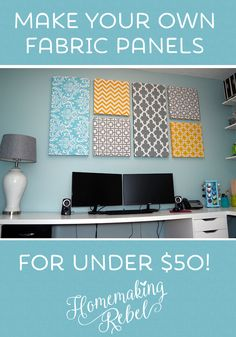DIY home decor fabric panels for under $50, a great budget friendly decoration for any room!