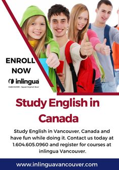 Study English in Vancouver, Canada and have fun while doing it. Contact us today at and register for courses at inlingua Vancouver. English Study, Learn English, Vancouver School, Language Study, Have Fun, Canada, Learning, Learning English, Studying