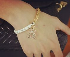 Wholesale New Fashion gold filled leather rope chain Cubs bear charm bracelets Valentine's Day gift for women B3219