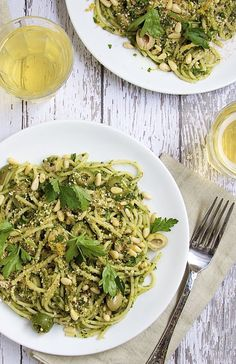 Zesty Spaghetti with Olives and Pine Nut Gremolata.  A vegan meal that doesn't taste like the box the pizza comes in.  Light but filling...perfect for summertime.
