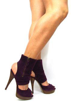 Kurt Geiger Carvela Womens Shoes Ankle Boots Size 5 Purple Peep Toes High Heels
