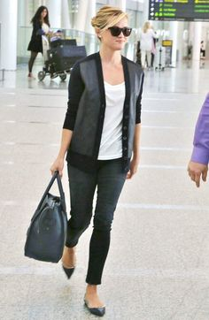 6d2a4921268b ... 91 Style Tips to Steal From the Airport s Best Dressed Celebs Reese  Witherspoon kept it preppy and cool in a leather-detailed cardigan, cropped  denim, ...