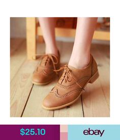 Flats Women Shoes Brogue Lace Up Wing Tip Oxford College Style Flat Fashion Shoes #ebay #Fashion