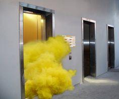 """Smoke Bomb In An Elevator""  Brad Troemel  2010"