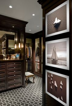 This is a man's closet by Alessandra Branca but to be honest, this could be mines because I love it. The richness of the wood and glass doors, just flawless.