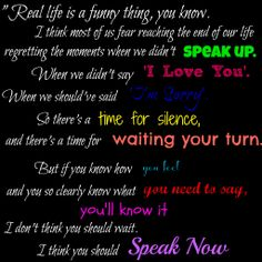 Speak Now Monologue