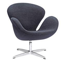 Finemod Imports Modern Swan Chair Wool Fabric