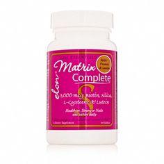 ELON Matrix Complete 3000 mcg Biotin, Silica, L-Cysteine & Lutein. Provides 3 essential building blocks for healthy nail growth as well as a multi-vitamin. Stronger, healthier nails in 4-6 months! #elon #matrixcomplete #nailcare #healthynails #strongernails #nailsolutions #nails #nailvitamins #nutritionalsupplements #vitamins #multivitamins