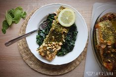 This dish is a perfect, light proposal for spring lunch. A piece of good fish and aromatic pesto with cashew nuts guarantee success. Served on fresh spinach with a bit of chilli is an ideal composition of flavors.