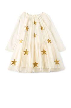 Stella McCartney Kids Misty Star Patched Dress in Cream | REVOLVE