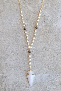 Beaded Arrowhead Lariat Necklace