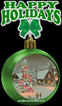 HAPPY HOLIDAYS ORNAMENT GIF Animated Christmas Pictures, Animated Christmas Tree, Christmas Tree Pictures, Christmas Scenes, Christmas Animals, Green Christmas, All Things Christmas, Christmas And New Year, Winter Christmas