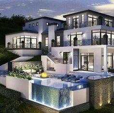 Home Luxury, Luxury Decor, Luxury Interior, Luxury Homes, Modern Luxury, Design Exterior, Modern Exterior, Hollywood Hills, House Plans Mansion