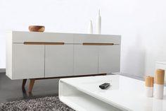 Buffet scandinave blanc brillant et frêne 180cm MELKA - Miliboo