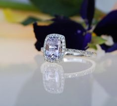 on hold Lavender violet cushion sapphire diamond ring white gold engagement ring Blue Sapphire Rings, Sapphire Diamond, Purple Sapphire, Beautiful Rings, Hello Beautiful, Absolutely Gorgeous, Diamond Are A Girls Best Friend, White Gold Rings, Just In Case
