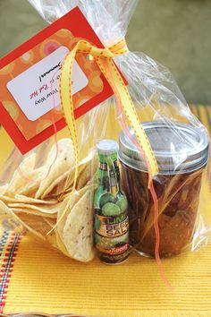Teacher Gifts: Salsa Your Way Into A Red Hot Summer. Homemade Salsa, Beer Salt and Chips.