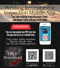 Snappii introduces updated Welding Environment Inspection mobile business app for iOS and Android devices. Now app users can upload their own PDF forms, fill them out and share. No need to recreate any forms - simply use your existing forms. Download the app for free https://www.snappii.com/app/welding-inspection/