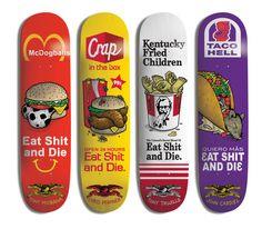 Anti Hero - Eat Shit and Die Series Anti Hero Skateboards, Creature Skateboards, Cool Skateboards, Skateboard Deck Art, Skateboard Design, Longboard Design, Skate Art, Cool Deck, Skate Decks