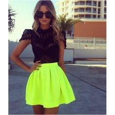 Neon green skater skirt Beautiful skirt brand new NWOT just too small for me. It's a small but fits XS.it is a sheer so you would have to wear a slit under. image is not mine.NO TRADES 🚩🚩🚩 Skirts Circle & Skater Neon Dresses, Neon Outfits, Mode Outfits, Stylish Outfits, Summer Outfits, Neon Skirt, Skater Skirts, Coral Skirt, Feminine Fashion