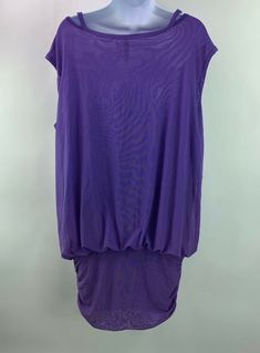 3a6b93d98453c (Advertisement)eBay- Thyme Maternity Womens Sz Medium Cap Sleeve Mesh Tunic  Dress Purple