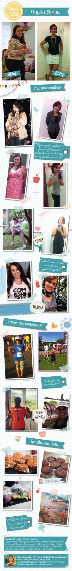 Superação Magda: 25Kg a menos ao eliminar fast-food da dieta - Blog da Mimis… Fitness Motivation, Health, Tips, Food, Healthy Mind, Lean Body, Make Up, Metabolism, Diets